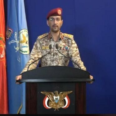 Portavoz militar de los rebeldes huties, el brigadier Yahya Serai. Fuente al-Masirah TV